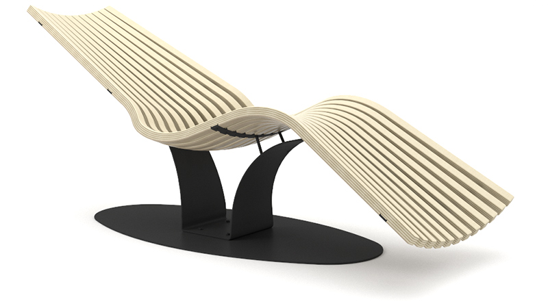 Wave Balance Steel relaxation lounger | Birch steel black