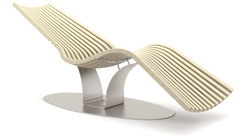 Wave Balance Steel relaxation lounger | Birch grey, RAL 9006