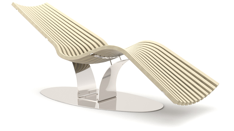 Wave Balance Steel relaxation lounger | Birch steel glossy