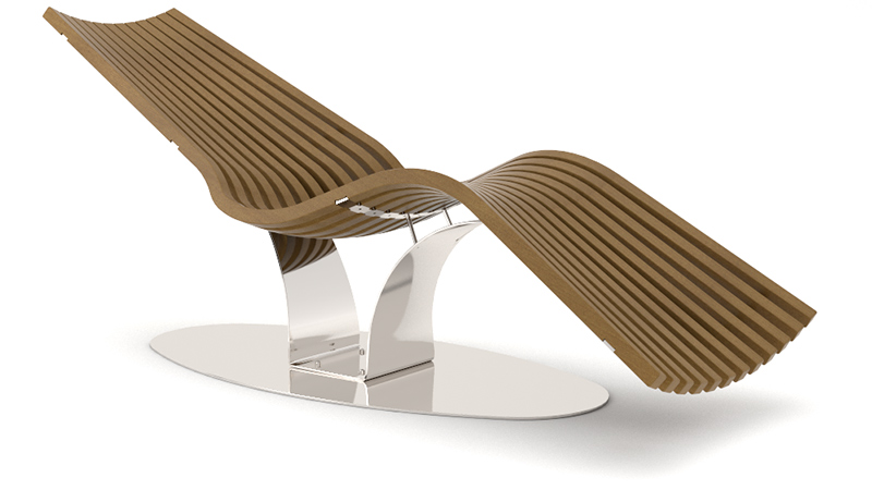 Wave Balance Steel Composite relaxation lounger with armrests | baseplate steel glossy (WPC)